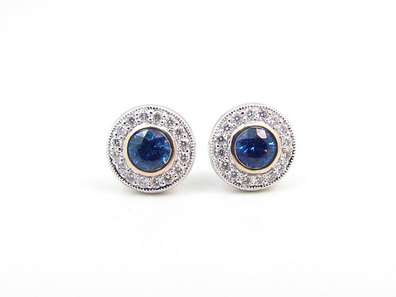18kt White Gold Sapphire & Diamond Earrings