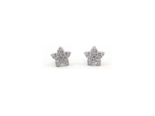 10kt White Gold Star Stud Earrings With Cubic Zirconia Stones And Erfly Backs
