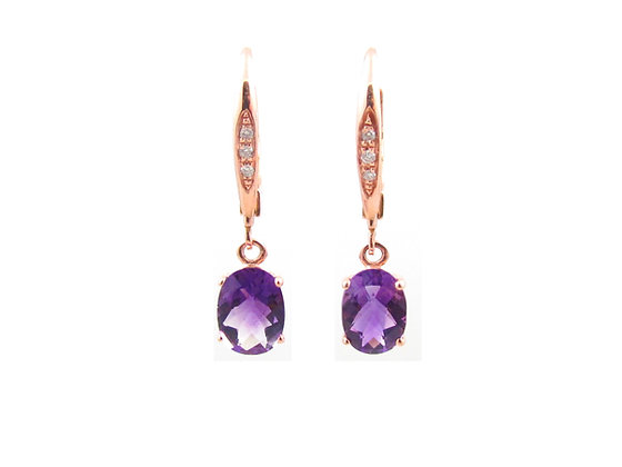 14kt Rose Gold Amethyst Drop Earrings