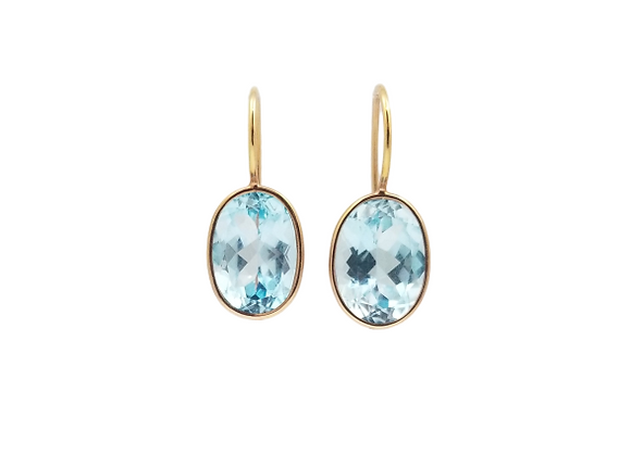 14kt Rose Gold Blue Topaz Earrings
