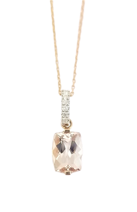 14kt Rose Gold Morganite & Diamond Pendant