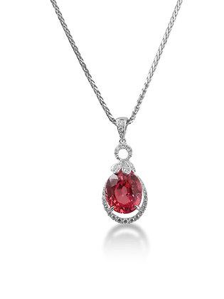18kt White Gold Pink Sapphire & Diamond Pendant