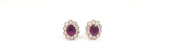 14kt Rose Gold Ruby and Diamond Earrings