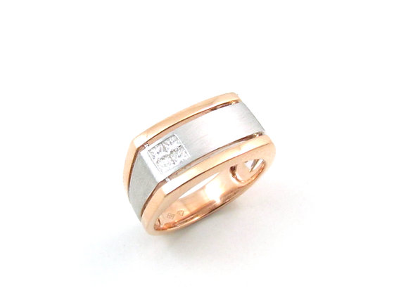 18kt White and Rose Gold Diamond Gents Ring