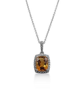 18kt White Gold Citrine & Diamond Pendant