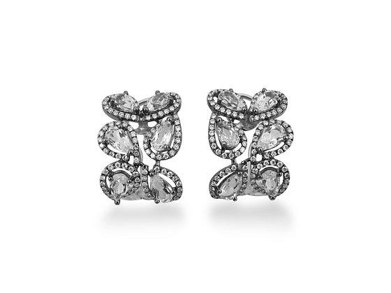 14kt White Gold White Topaz & Diamond Earrings