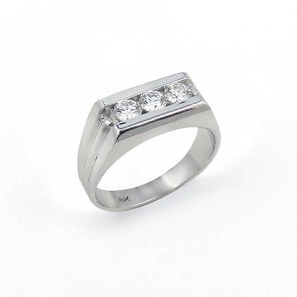 18kt White Gold Diamond Gents Ring