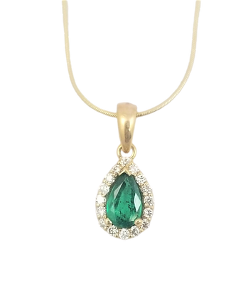 14kt Yellow Gold Emerald & Diamond Pendant