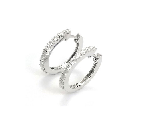 14kt White Gold Diamond Hoop Earrings