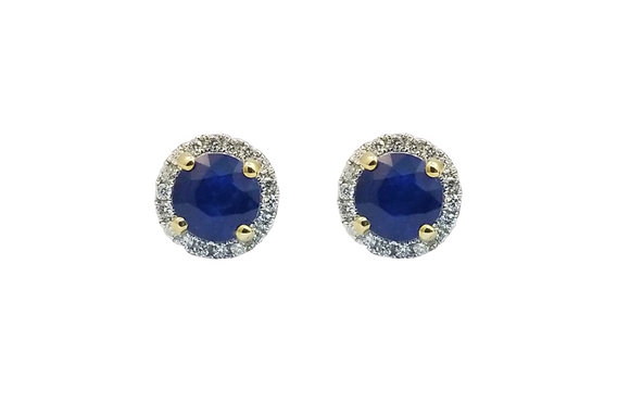 18kt White Gold Sapphire and Diamond Earring Studs