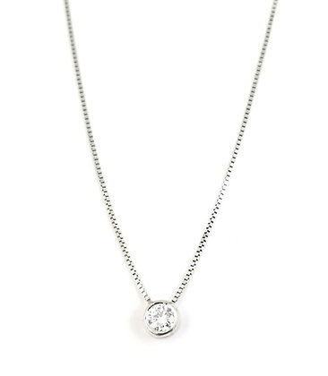 14kt White Gold Diamond Solitaire Pendant