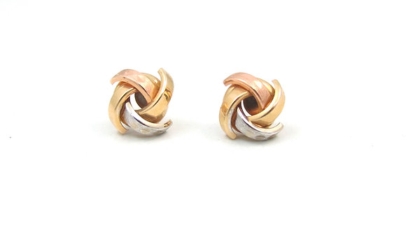 14kt Yellow, White and Rose Gold studs