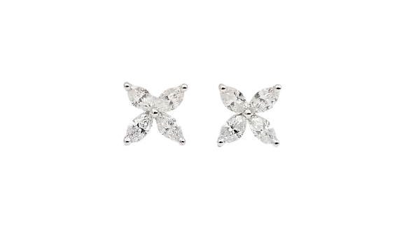 18kt White Gold Diamond Marquise Earrings Studs