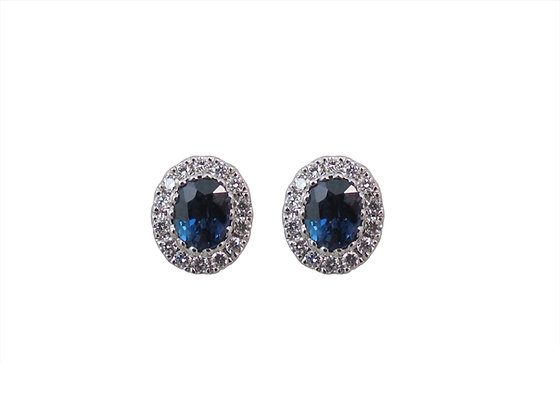 18kt White Gold Sappire and Diamond Stud Earrings