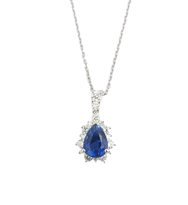 14kt White Gold Sapphire & Diamond Pendant