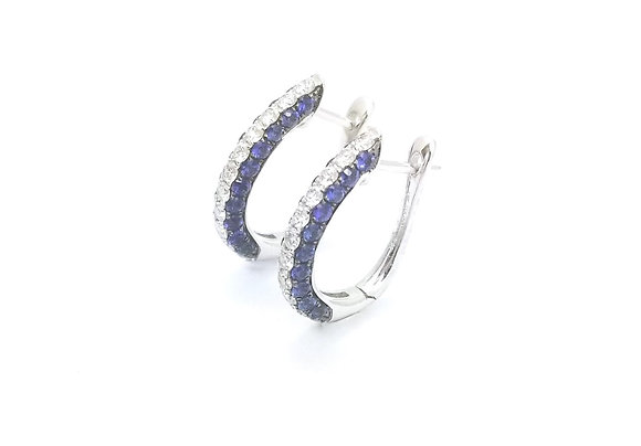 18kt White Gold Diamond & Sapphire Hoop Earrings
