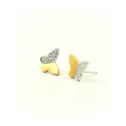 18kt Yellow / White Gold Butterfly Earrings
