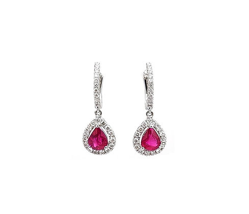 18kt White Gold Ruby and Diamond Earring Drops