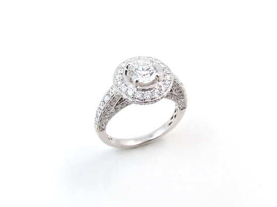 18kt White Gold Diamond Halo Engagement