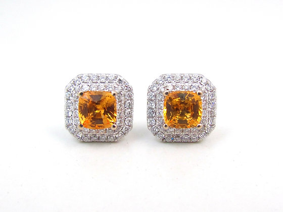 18kt White Gold Yellow Sapphire & Diamond Earrings