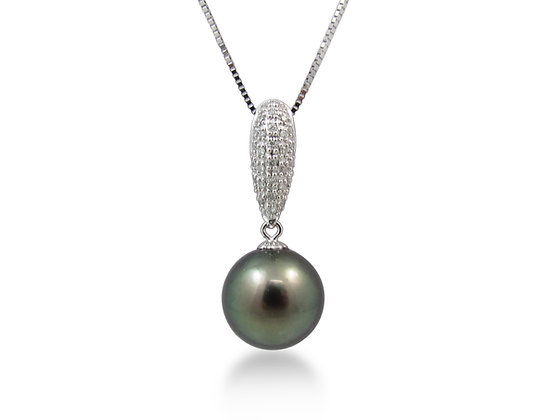 14kt White Gold Black Tahitian Pearl and Diamond Pendant