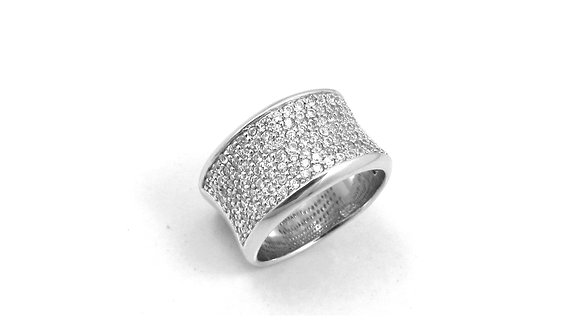 Wde Pave Silver Ring With Cubic Zirconia
