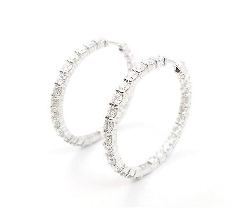 18K White Large Diamond Hoop Earrings