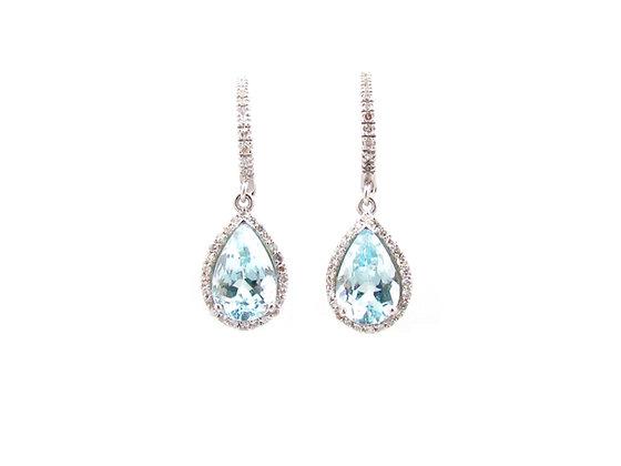 14kt White Gold Blue Topaz & Diamond Earrings