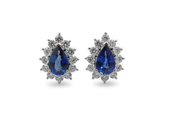 18kt White Gold Sapphire & Diamond Earrings
