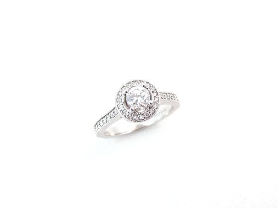 14kt White Gold Round Brilliant Diamond Halo Engagement Ring