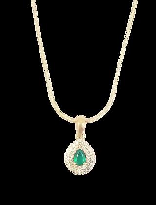 14kt Yellow Gold Emerald & Diamond Pendant