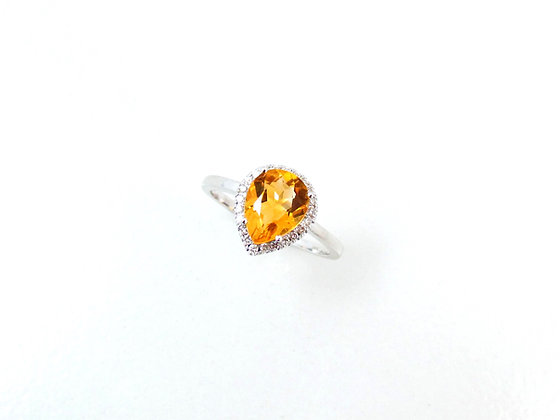 10kt White Gold Citrine & Diamond Ring