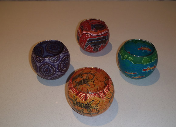 Traditional Painted Candle Holders