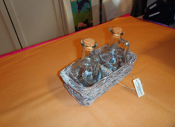 Dressing bottles and holder