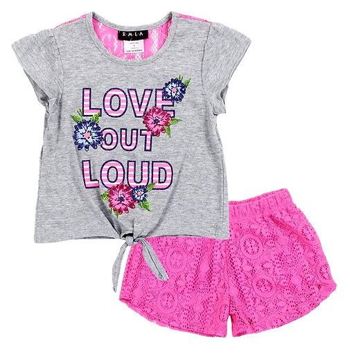 RMLA Girls Toddler 2PC Lace Short Set
