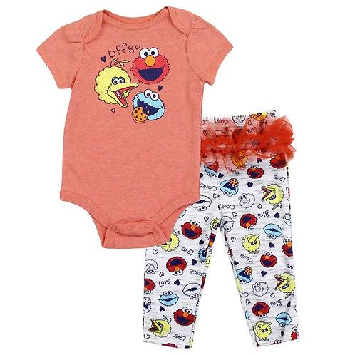 SESAME STREET Girls Newborn 2PC Creeper Pant Set