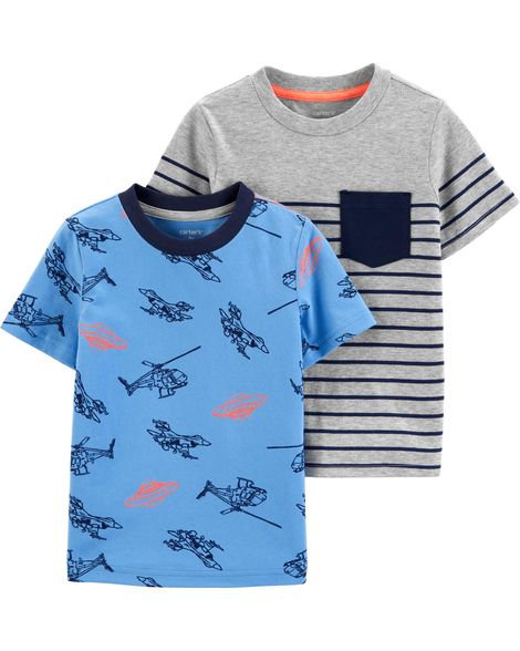 Carter's 2-Pack Jersey Tees Blue Heather