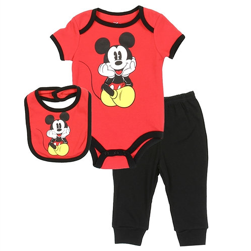 MICKEY MOUSE Boys Newborn 3PC Creeper Pant Set