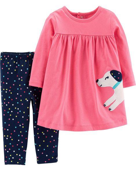 Carter's 2-Piece Dress & Polka Dot Legging Set