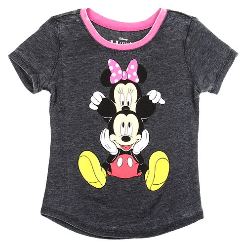 MINNIE & MICKEY Girls Front/Back Print T-Shirt