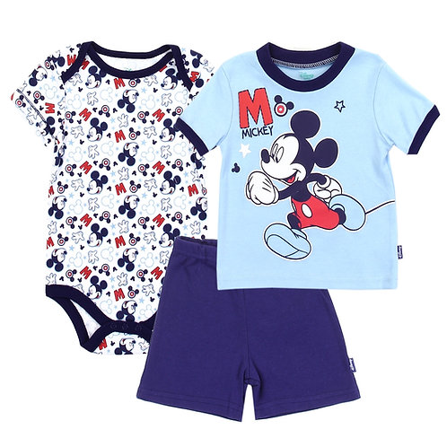MICKEY MOUSE Boys Newborn 3PC Short Set
