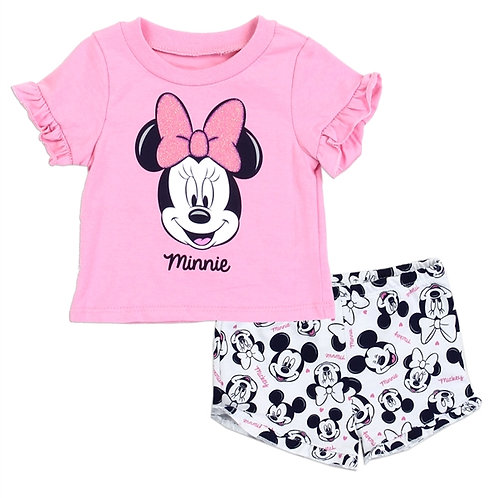MINNIE MOUSE Girls Newborn 2PC Creeper Short Set