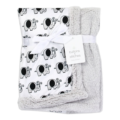 BUTTONS & STITCHES Soft Mink/Sherpa Baby Blanket