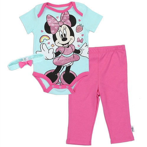 MINNIE MOUSE Girls Newborn 3-Piece Creeper Pant Headband Set