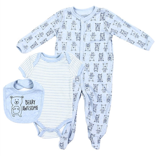 WEEPLAY Boys Newborn 3PC Coverall Set