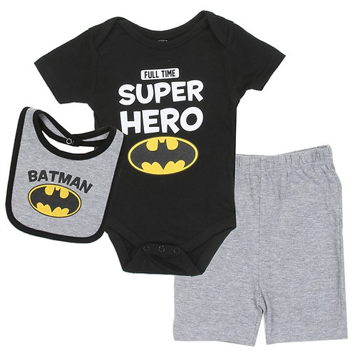 BATMAN Boys 0-9M Newborn 3-Piece Short Set