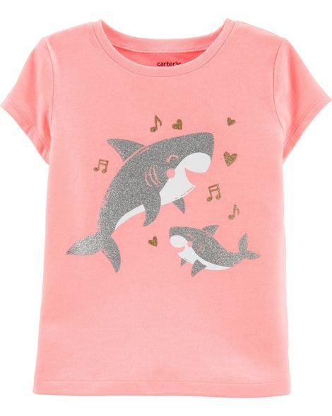 Carter's Neon Glitter Baby Shark Jersey Tee