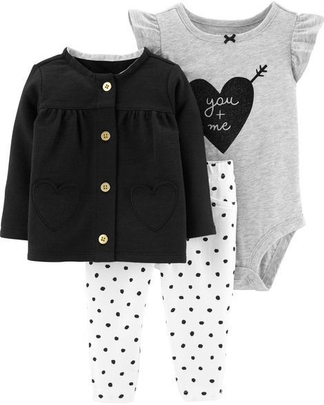 Carter's 3-Piece Heart Cardigan Set