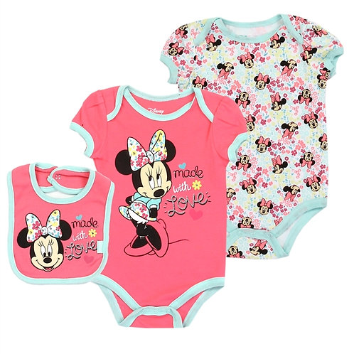 MINNIE MOUSE Girls Newborn 3PC Creeper Set
