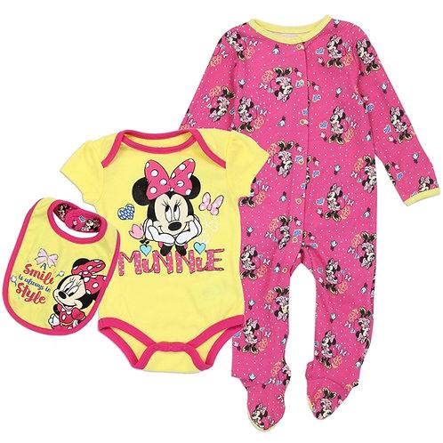 MINNIE MOUSE Girls Newborn 3-Piece Creeper Pant Sleeper Set